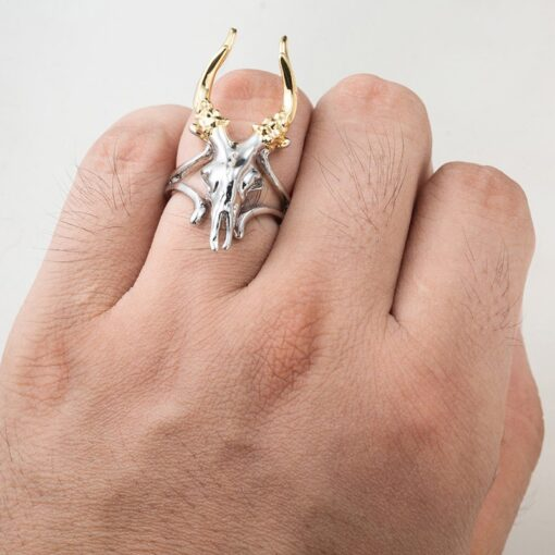 Stainless Steel Deer Skull Ring