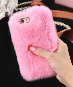 Rabbit Hair Phone Case Pink