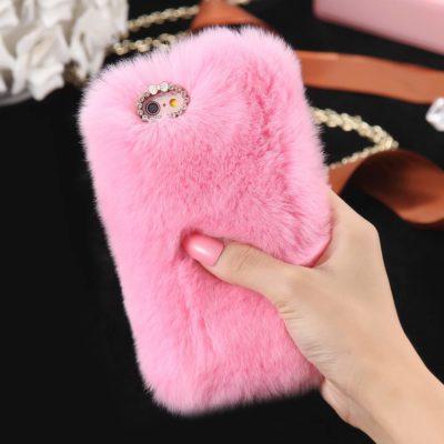 Rabbit Hair Phone Case Pink