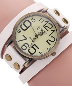 Big Retro Leather Wrist Watch