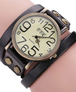 Big Retro Leather Wrist Watch - A