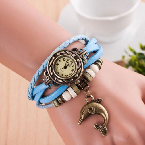 Dolphin Leather Bracelet Watch - White