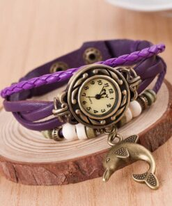 Dolphin Leather Bracelet Watch - White