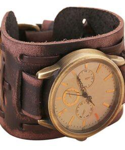 Retro Watch with Wide Leather Bracelet