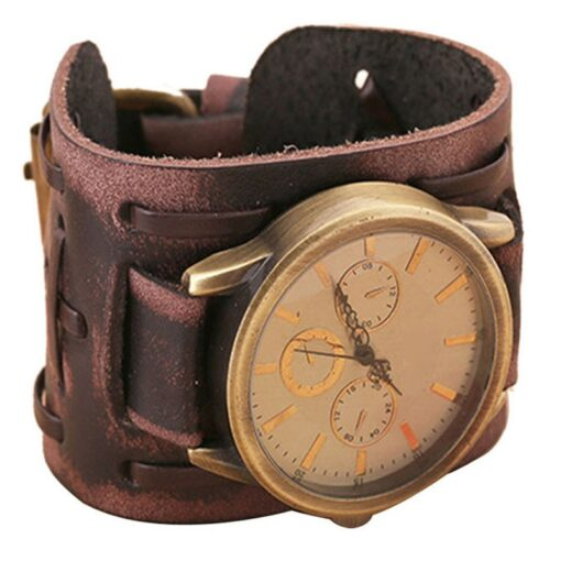 Retro Watch with Wide Leather Bracelet