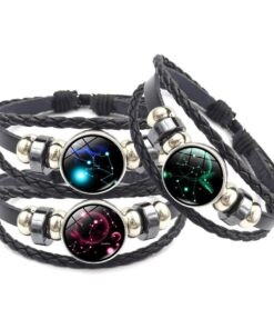 Zodiac Leather & Glass Bracelet