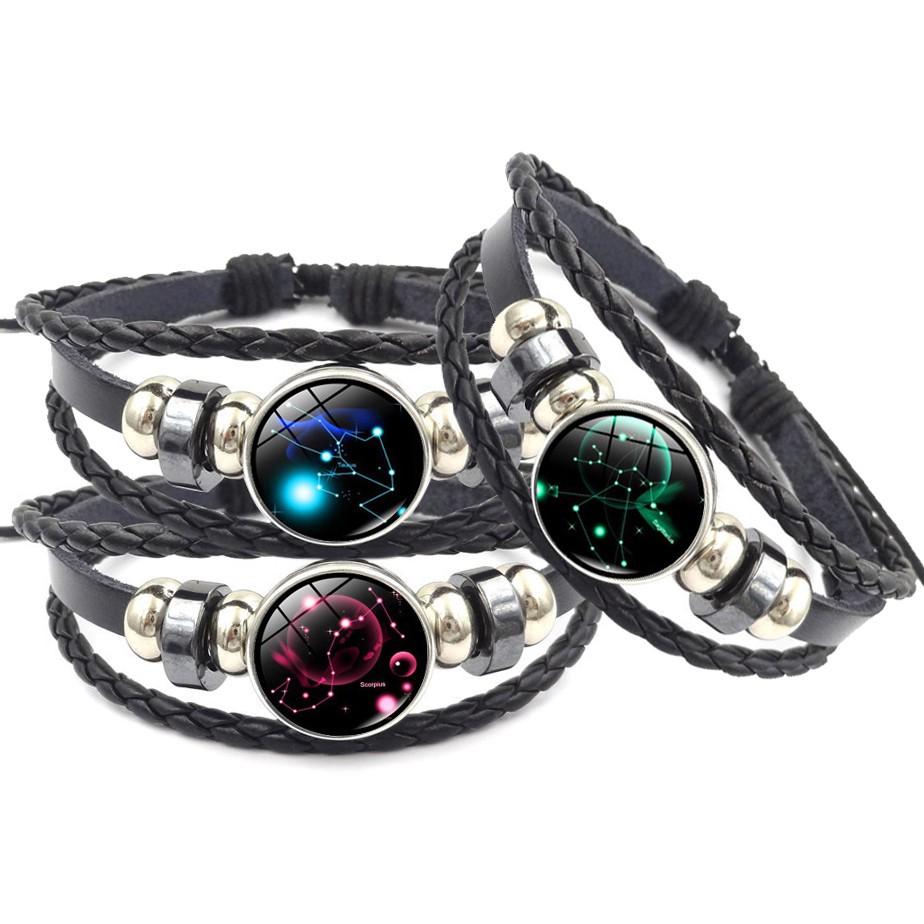 Zodiac Leather & Glass Bracelet